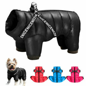 Dog Puffer Jumpsuit for Small Dogs Waterproof Pet Dog Harness Jacket Hoodie Coat