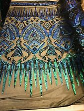 Iridescent Green/Black 4-Way Stretch Nylon Spandex Black Mesh Sequins By Yard