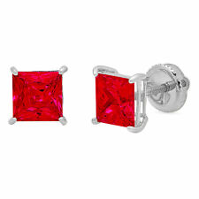 1 ct Princess Brilliant Cut Solitaire Ruby CZ Stud Earrings Real 14k White Gold