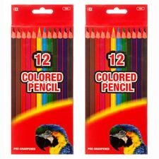 LOT Bazic 24 Colored Pencils Pre-Sharpened Hexagonal Barrel #785 NIB
