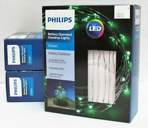 Lot of 3 LED Battery Operated Dewdrop Lights w/Timer Philips 051042765 Green