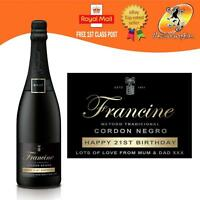 PERSONALISED CAVA PROSECCO CHAMPAGNE BLACK BIRTHDAY LABEL ANY OCCASION GIFT
