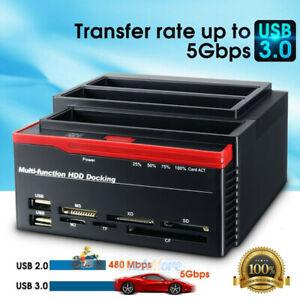 External Triple SATA SSD IDE HDD Docking Station 3.5''/2.5''Hard Drive Card Read