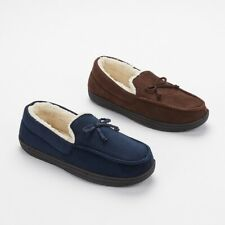 Mens Moccasins Fur Lined Faux Suede Sheep Skin Warm Winter Loafers Slippers Size