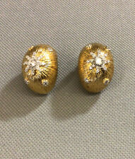 Clip Earrings Preowned .75 Inch Long Jarin Sterling Silver Gold Gilt Rhinestone