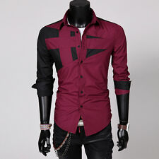 Men Luxury Slim Fit Casual Shirts Long Sleeve Formal Business Dress Shirt Tops P