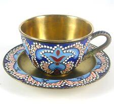 Russische Espressotasse + Untertasse 916er Silber emailliert Russia ca. 193g