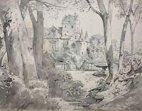 "Albert Emil Kirchner (1813-1885) signiertes Aquarell ""Schloss mit Park"", um 1860"