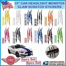 Auto REFLECTIVE CAR HEADLIGHT MONSTER STICKERS Scratch Stripe Claw Vinyl Decals