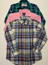 Boys Size 7 Long Sleeve Button Up Shirts Casual Plaid Stripe Check Ralph Lauren
