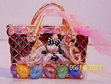 Yorkie hand painted  purse crystal key chain handbag charm gift