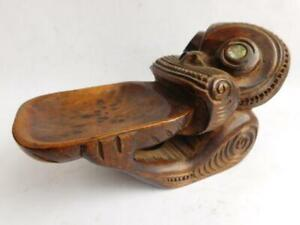 Unique form Antique New Zealand NZ Maori Carved Wooden Tiki Tray Statue Pacific