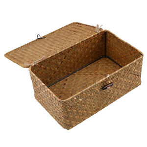 Seagrass Storage Baskets With Lids For Home And Bathroom Organization,