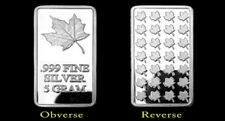 5 Gram Maple Leaf 999 Silver bullion Fine Silverbar m Capsule