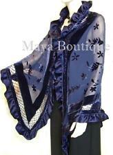 Navy Blue Shawl Scarf Wrap Silk Burnout Velvet Triangle Ruffles Maya Matazaro