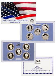 2010 S U S Mint America the Beautiful Clad Quarter Proof Set in OGP