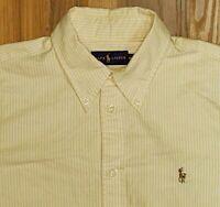 Ralph Lauren Polo Men's L/S Dress Shirt Medium Yellow White Striped