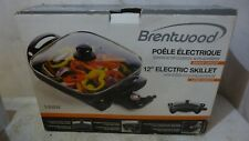 """Brentwood SK65 Electric Skillet 12"""" Cool Touch Knob Tempered Glass Lid 1400W New"""