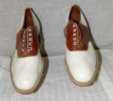 "Orig Mens Vtg 40s 50s Brown White 2 Tone Leather Saddle Shoes ""Hurd"" Sz 7 1/2"