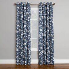 Corona Brixton Denim Blue Floral Window Curtains Set of 2 Grommet Top Panels NEW