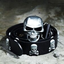 ByTheR Men's Fashion Chic Black Leather Metal Skull Studded Buckle Belt  AU
