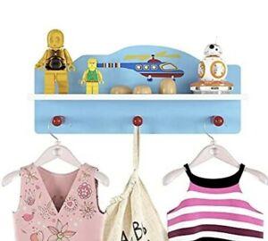 Kindergarderobe mit 3 Haken und 1 Fächer Wandregal Wandgarderobe für Kinder