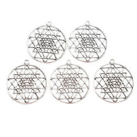 1 Set Flower Of Life Pendants Charm Metal Antique Hollow Silver Jewelry Decor