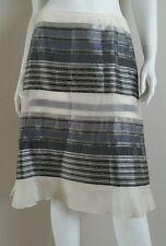 CAROLINA HERRERA Grey Ivory Striped Chiffon Ruffed A Line Skirt - Size 8