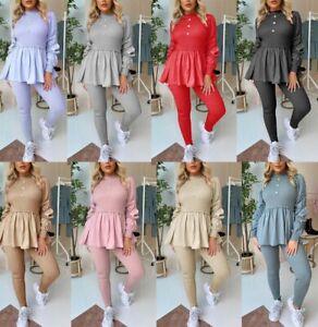 Women's Ladies Ribbed Peplum Style Top Loungewear Tracksuit Jogsuit Co ord set