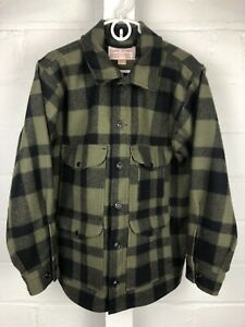 Excellent FILSON MACKINAW CRUISER Wool Jacket Black Green Plaid Size 42 RARE