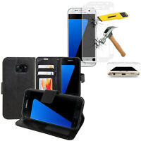 Etui Coque Portefeuille Video Samsung Galaxy S7 G930F + Films VERRE Incurvé