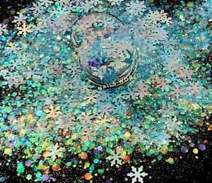 X01. Christmas MIX White Holo STAR 9mm Holographic Nail Art Glitter Sequins Xmas