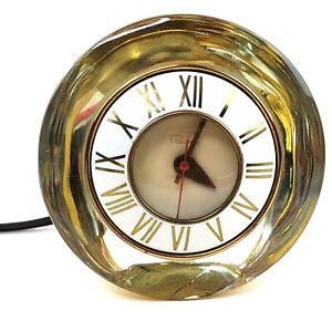 Telechron The Suave Gold Mercury Glass Clock 3H159 Mid Century Modern Deco