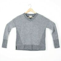 Kinross Cashmere Womens Sz XS Gray Long Sleeve V Neck Pullover Sweater NWT