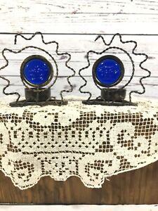 Cobalt Blue Glass & Metal Sun Face Tea Light Candle Holder Antique Bronze Finish