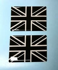 2 x UNION JACK FLAG Stickers/Decals 70mm - BLACK & WHITE - HIGH GLOSS DOMED GEL