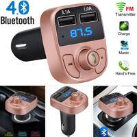 Wireless BT Handsfree Car Kit FM Transmitter MP3 Player Audio Dual USB Charger