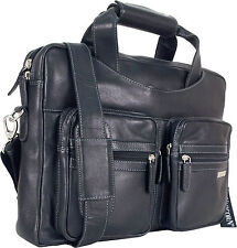 "UNICORN Real Leather 16.4"" Laptop Netbook Ultrabook Messenger Bag - Black #7N"