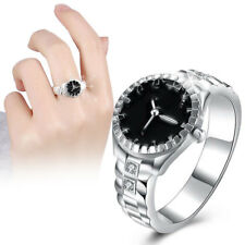 Damen Ringuhr Fingeruhr Uhr Watch Quarzuhr Strass Schwarz Zifferblatt Fingerring