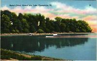 Vintage Postcard - Hyde's Point Lake Champlain VT Vermont Linen Un-posted #1749