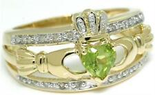 Claddagh Peridot & 20 Diamond 9K 9ct Solid Gold Celtic Ring - 30 Day Refunds