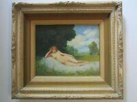 FINEST AKOS TOLNAY PAINTING ANTIQUE NUDE FEMALE WOMAN RECLINED NUDE HUNGARIAN