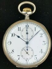 Longines Chronograph 17 Jewels 0.900 Silver Open Face Antique Pocket Watch
