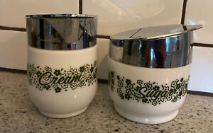 Vintage GEMCO Sugar and Creamer Set Corning Ware Green Flowers