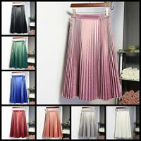 Women Vintage Fashion Elastic High Waist Pleated Swing Flared Skater Midi Skirt