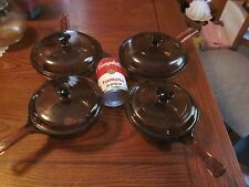 VISIONS WARE PYREX  COOK WARE GLASS sauce pan pans USA 8 piece set near perfect