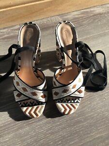 Gianvito Rossi Ladies Embroidered Black & Beige Heels Sandals Size 39 Uk 6