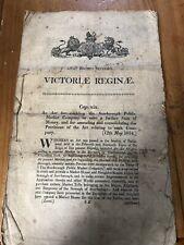 Rare Copy 1854 Antique Scarborough Public Market Act Printed Govt Document Old