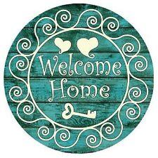 """Indoor/Outdoor Welcome Home Heart & Key Metal Round Circular Sign 12"""""""
