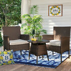3PCS Outdoor Wicker Chair Set Rattan Patio Furniture Seat Cushions with Table